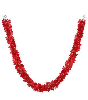 Handmade Holiday Christmas 66'' Glitter Poinsettia Chain Garland-Red