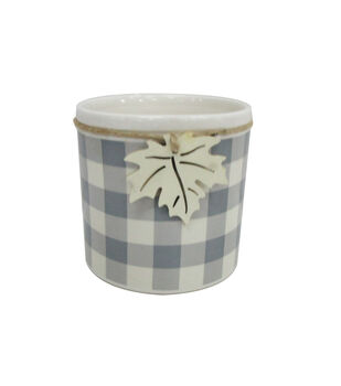 Blooming Autumn Large Stoneware Container-Gray & White Checks