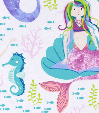 Snuggle Flannel Fabric 42''-Watercolor Mermaids