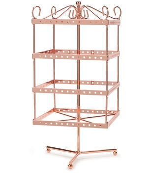 """Metal Jewelry Display Spinner 6""""X6""""X13""""-Copper"""