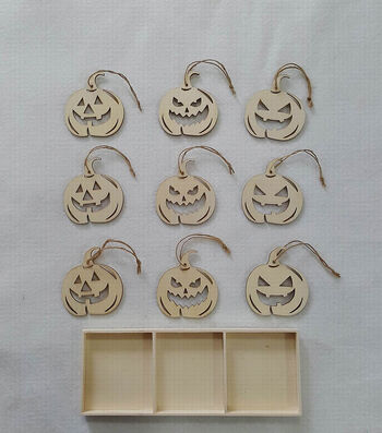 Maker's Halloween Laser Wood 9pc Set Fall Pumpkins
