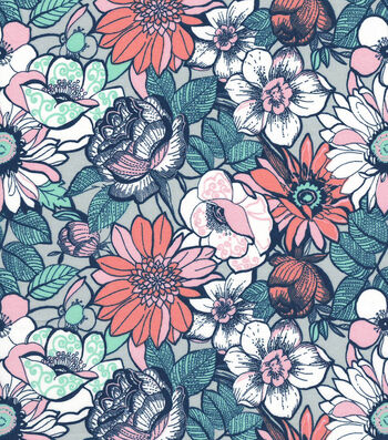 Quilter's Showcase Cotton Fabric -Modern Flowers on Gray