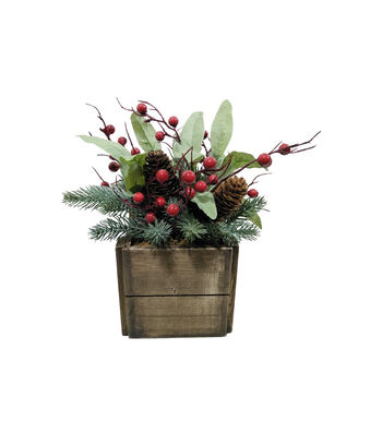 Blooming Holiday Small Olive Leaf, Berry & Pinecone Arrangement