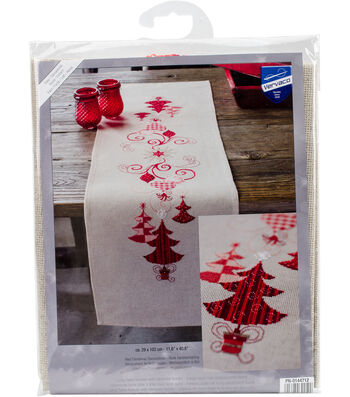 Red Christmas Decorations Table Runner Counted Cross Stitch