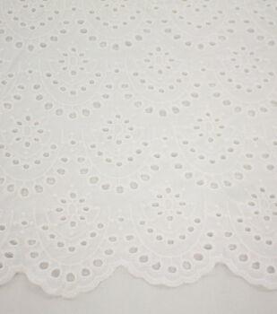 Scallop Cotton Eyelet Fabric-White