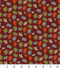 Quilter\u0027s Showcase Cotton Fabric-Tossed Leaves on Burgundy