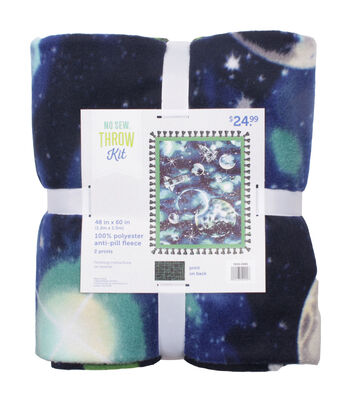 """No Sew Fleece Throw 48""""-Planet's and Spaceships"""