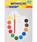 Pro Art 12 pk Watercolor Cakes with Brush & Palette-Assorted Colors