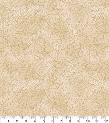 "Harvest Cotton Fabric 43""-Cream Leaves Outline"