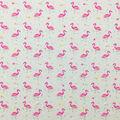 Doodles Juvenile Apparel Fabric-Pink Flamingos on Heather Gray