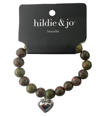hildie & jo Beads Stretch Bracelet-Green with Silver Heart Charm