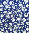 Apparel Knit Fabric 57\u0027\u0027-White & Sage Tossed Mini Floral on Dark Blue