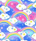 Anti-Pill Fleece Fabric 59\u0022-Rainbows Pink Blue