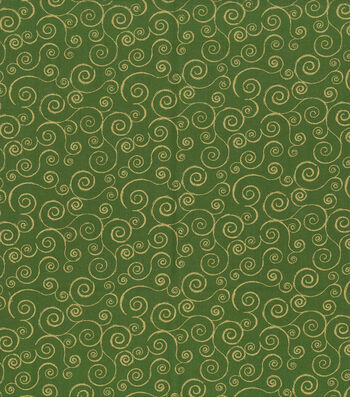 "Keepsake Calico™ Holiday Cotton Fabric 43""-Green Metallic Scrolls"