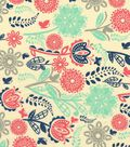 Quilter\u0027s Showcase Cotton Fabric -Coral, Mint & Gray Floral