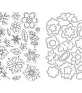 Hero Arts Clear Stamp & Die Combo-Flowers For Coloring