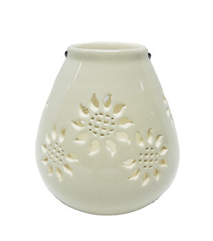 Simply Autumn Ceramic Lantern with Sunflower Cutouts-White