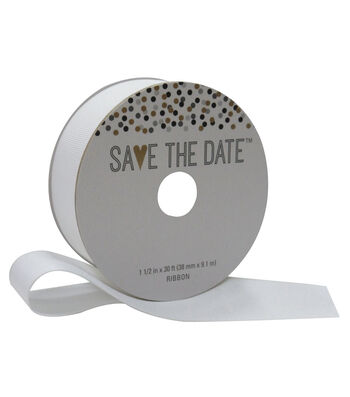 Save the Date 1.5'' X 30' Ribbon-White Grosgrain