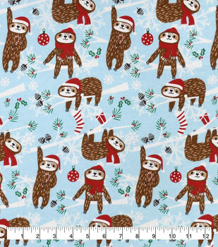 Christmas Snuggle Flannel Fabric-Holiday Sloth
