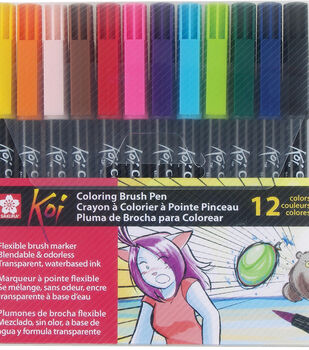 Koi 12 pk Coloring Brush Pens-Assorted