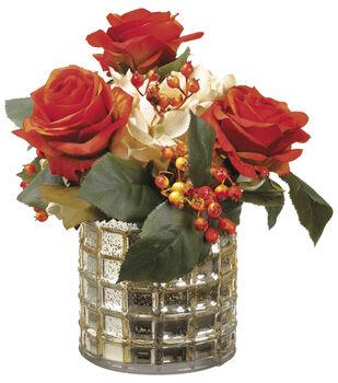 Roses & Hydrangeas in Vase 11''-Cream & Orange
