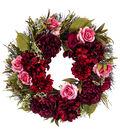Blooming Autumn Peony & Rose Wreath-Burgundy