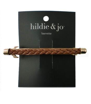 hildie & jo Gold Barrette-Brown Braid