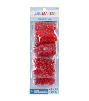 Little Makers 2.82 oz. Assorted Beads-Red