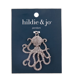 hildie & jo Zinc Alloy, Iron & Glass Octopus Pendant
