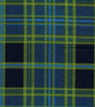 Snuggle Flannel Fabric -Navy & Green Plaid