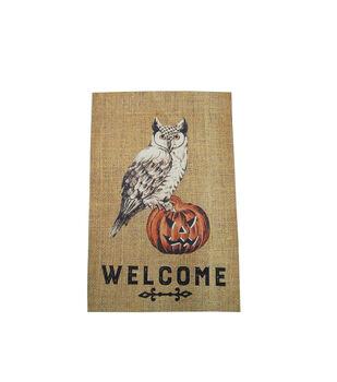 Maker's Halloween 12''x18'' Burlap Flag-Welcome & Owl