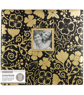 K&Company 12''x12'' Scrapbook with Window-Gold Foil Floral on Black