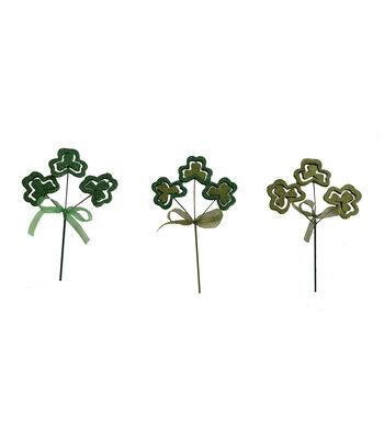 St. Patrick's Day Decor 3 pk 9'' Glitter Shamrock Picks