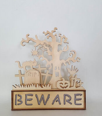 Maker's Halloween Laser Wood- Haunted Scene Beware Light Up
