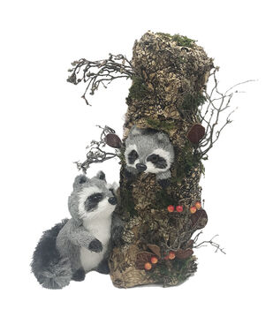 Blooming Autumn Mother Raccoon with Baby on Tree-Gray