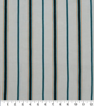 Specialty Cotton Gauze Fabric-Ivory & Teal Stripe