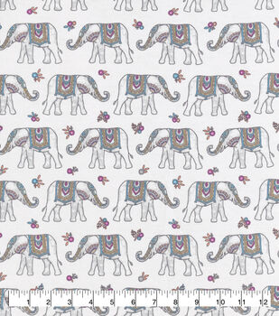 Snuggle Flannel Fabric-Pretty Elephants