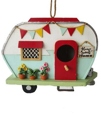 In the Garden Camper Bird House with Red Door-Home Sweet Home