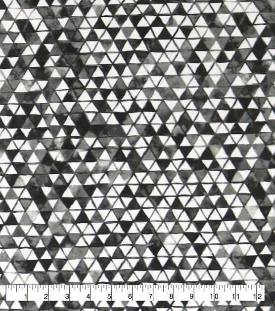Wide Flannel Fabric Black & White Triangles, , hi-res, image 1