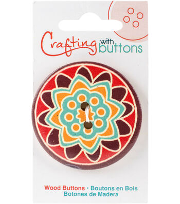 Crafting with Buttons Global Chic 1.75'' Wood Button-Ghana