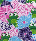 Snuggle Flannel Fabric -Frogs In Floral Bursts