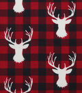 Novelty Cotton Fabric-Stag Heads on Red & Black Buffalo Checks