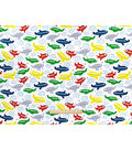 Nursery Flannel Fabric -Tossed Airplanes White