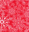 Anti-Pill Fleece Fabric 59\u0022-Snowflake On Red