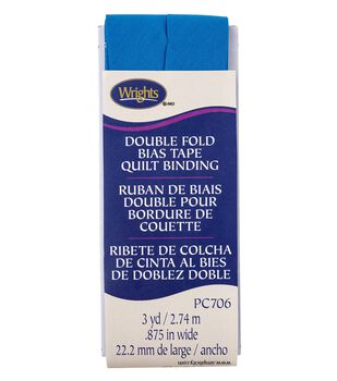 Wrights Double Fold Quilt Binding Bias Tape 7/8''x3 yds-Teal