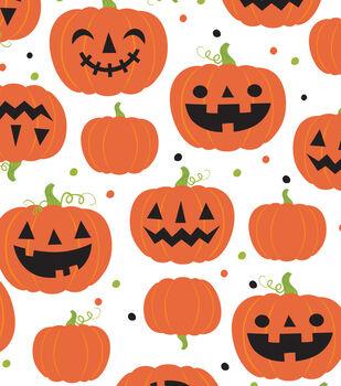 Maker's Halloween 60'' Round Tablecloth-Pumpkins & Jack-o'-lanterns