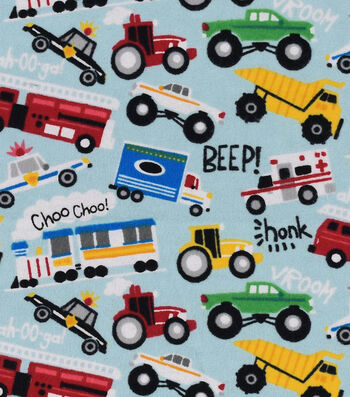 "Snuggle Flannel Fabric 42""-Beep Honk Vroom"