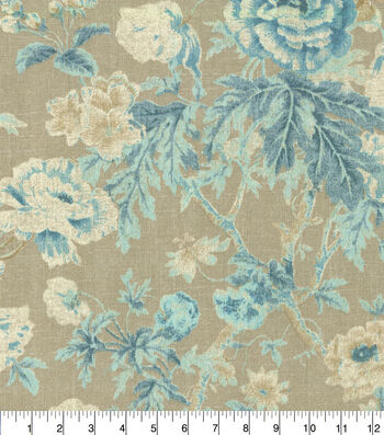 """Waverly Upholstery Fabric 13x13"""" Swatch-Among the Roses Bluebell"""