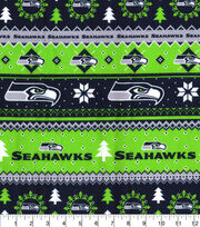 Seattle Seahawks Christmas Flannel Fabric-Winter, , hi-res