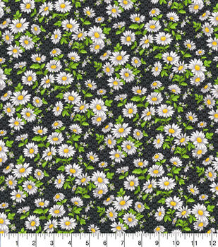 Keepsake Calico Cotton Fabric-Daisy Delight Black